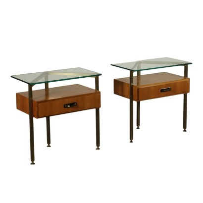 Pair Of Bedside Tables Mahogany Veneer Brass Glass Italy 1960s