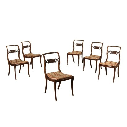 Group of Neo-Classical Revival Chairs Mahogany Italy 20th Century