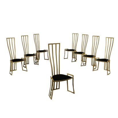 Eight Chairs Marzio Cecchi Enamelled Metal Foam Velvet Italy 1980s