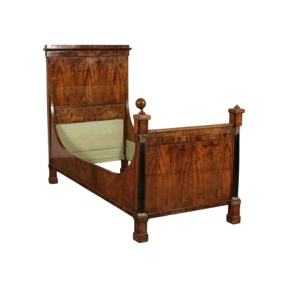 Empire Single Bed Striped Walnut Bronze Italy 19th Century