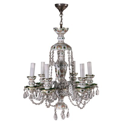 Bohemia Chandelier Painted Glass Early 20th Century