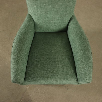 Armchair Foam Metal Brass Fabric Italy 1960s