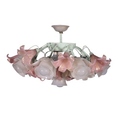 Ceiling Lamp Blown Glass Metal Italy 1950s