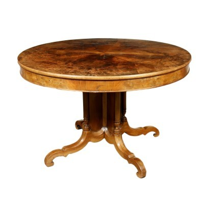 Louis Philippe Table Walnut Veneer Italy 19th Century