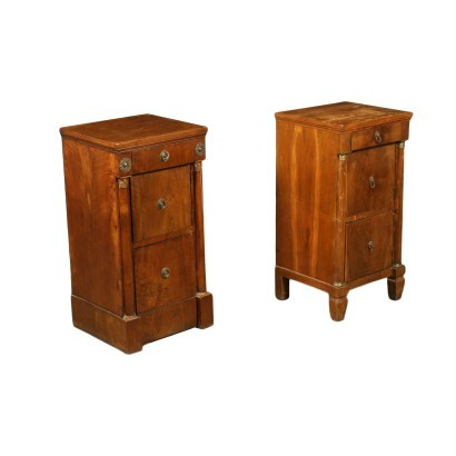 Pair of Empire Bedside Tables Walnut Italy 19th Century