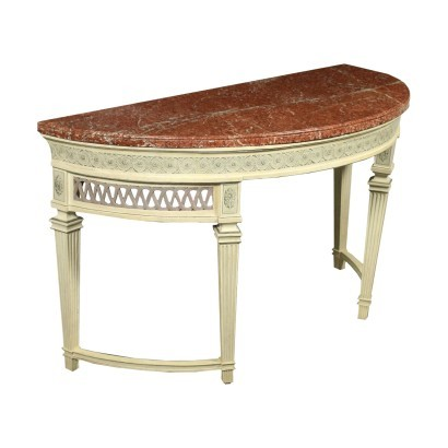 Console Neo-Classical Poplar Red Marble Piedmont Italy Second Half 700