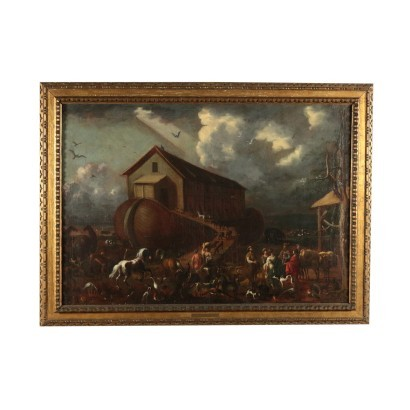Entrance Of The Animals Into Noah's Ark Oil On Canvas 18th Century