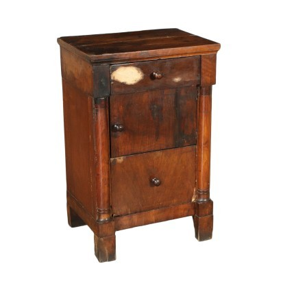 Empire Bedside Table Walnut Chestnut Italy 19th Century