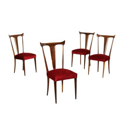 Group Of Four Chairs Beech Velvet Spring Italy 1950s 1960s