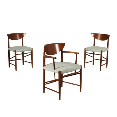 Group Of Chairs Teak Fabric Foam Italy 1960s