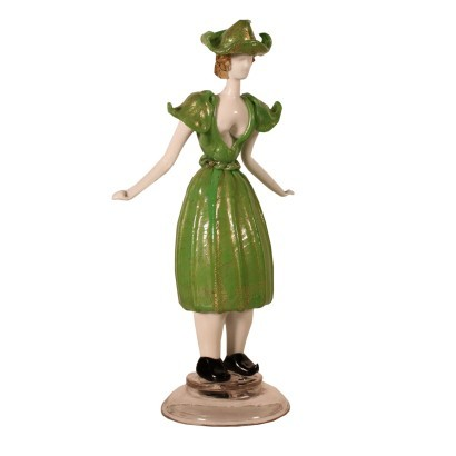 Female Figure Statue Blown Glass Murano Italy 1960s