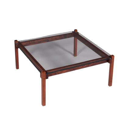 Small Coffee Table Teak Glass Italy 1960s Italian Production