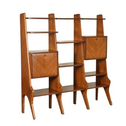 Bookcase Veneered Wood Italy 1950s 1960s