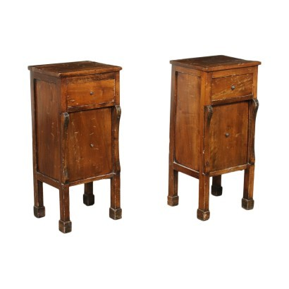 Pair of Restoration Bedside Tables Silver FIr Walnut 19th Century