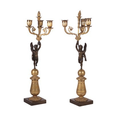 Pair of Napoleon III Chandelier Bronze France 19th Century
