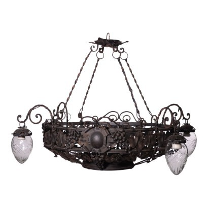 Liberty Chandelier Iron Shear Plate Italy 20th Century