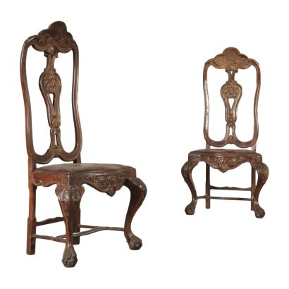 Pair Of Queen Anne Chairs Mahogany England 18th Century