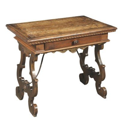 Small Neo-Renaissance Table Walnut Poplar Iron Italy 19th Century