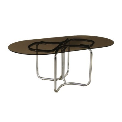Table Chromed Metal Smoked Glass Italy 1970s