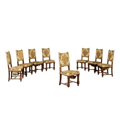 Group of 8 Neo-Renaissance Revival Chairs Italy 20th Century