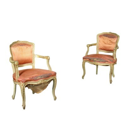 Pair Of Venetian Barocchetto Revival Armchairs Italy 20th Century