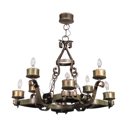 Wrought Iron Chandelier Italy 20th Century