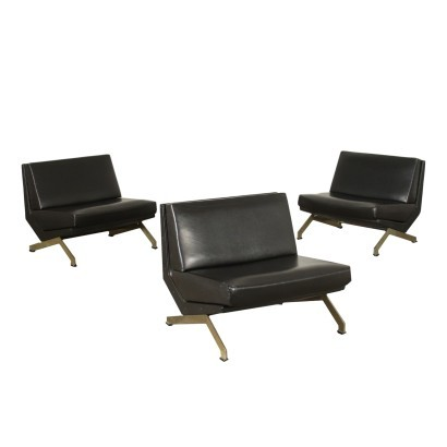 Formanova Armchairs Leatherette Chromed Metal Foam Italy 1970s