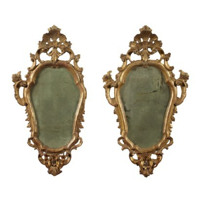 Pair of Lombard Barocchetto Mirrors Italy 18th Century