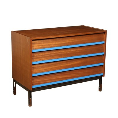 Chest Of Drawers Mahogany Veneer Formica Wood Metal Italy 1960s