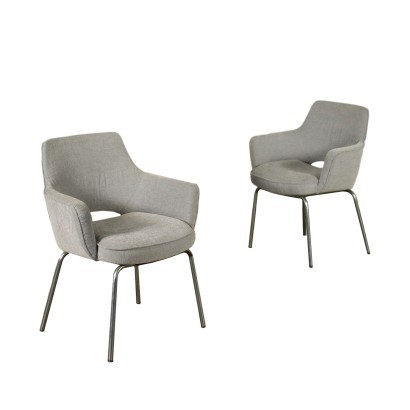 Pair Of Chairs Metal Foam Fabric Italy 1960s