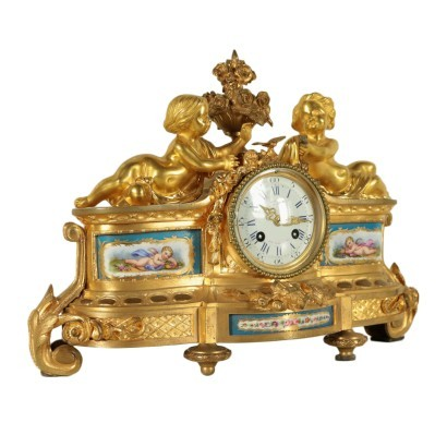 Table Clock Gilded Bronze Porcelain France 19th Century