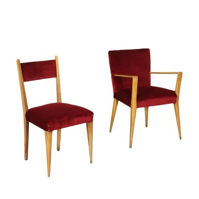 Pair Of Chairs Beech Foam Velvet Italy 1950s