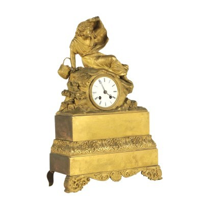 Table Clock in Gilded Bronze