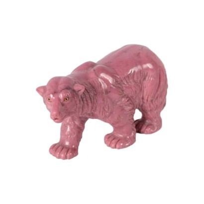 Bear Sculpture in Pink Marble