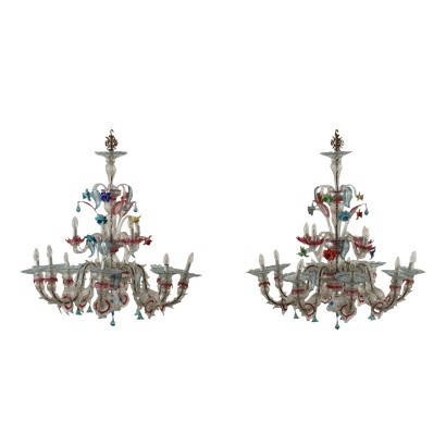 Pair Of Chandeliers Blown Glass Murano Italy 20th Century