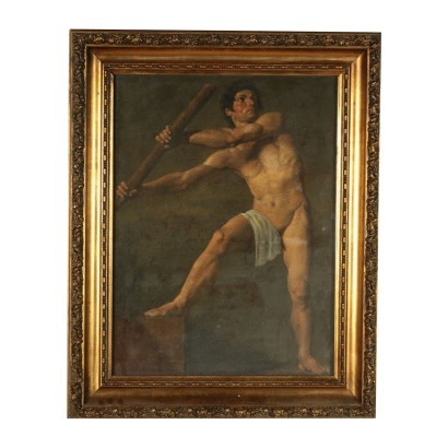 Male Figure Oil On Canvas 19th Century