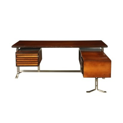 Formanova Desk Stained Beech And Maple Veneer Italy 1970s