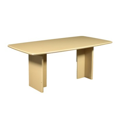 Table Lacquered Wood Brass-Plated Aluminium Italy 1950s