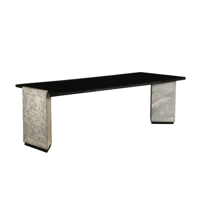 Sormani Desk Granite Lacquered Wood Leather Italy 1980s