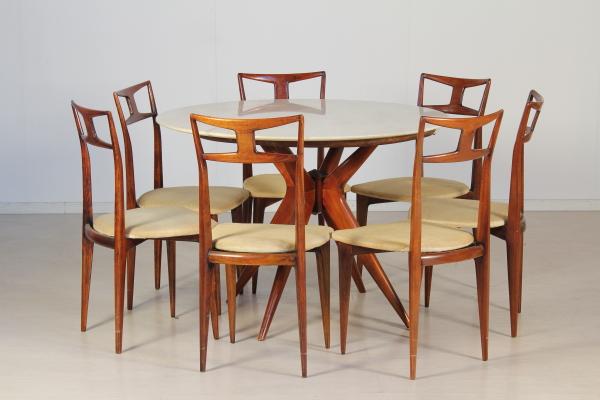 Tavolo e sedie in stile ico parisi tavoli modernariato for Negozi tavoli milano