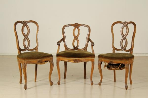 Coppia sedie con poltrona - Mobili in stile - Bottega del 900 ...