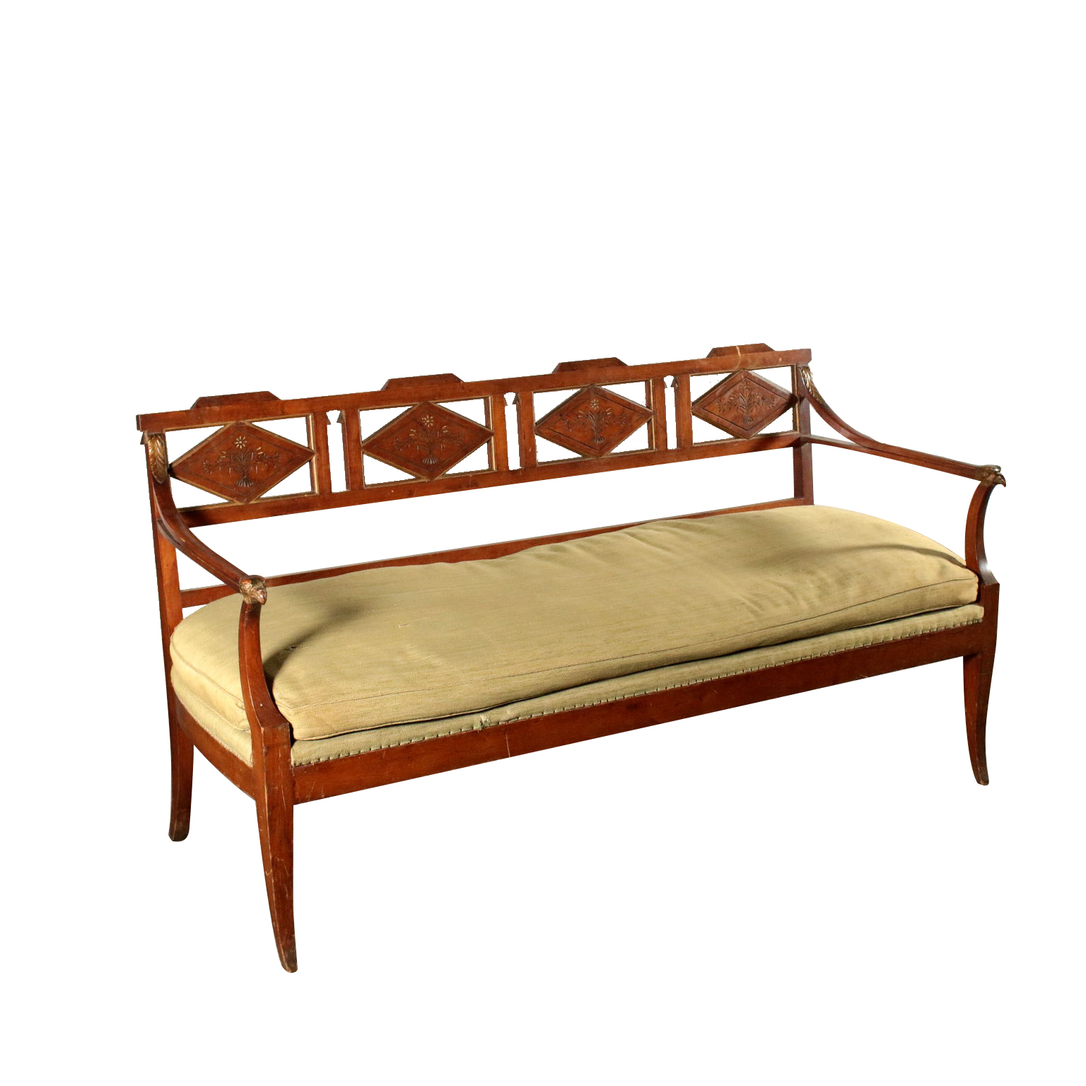 Elegant Sofa Cherry Wood Italy Early 1800s
