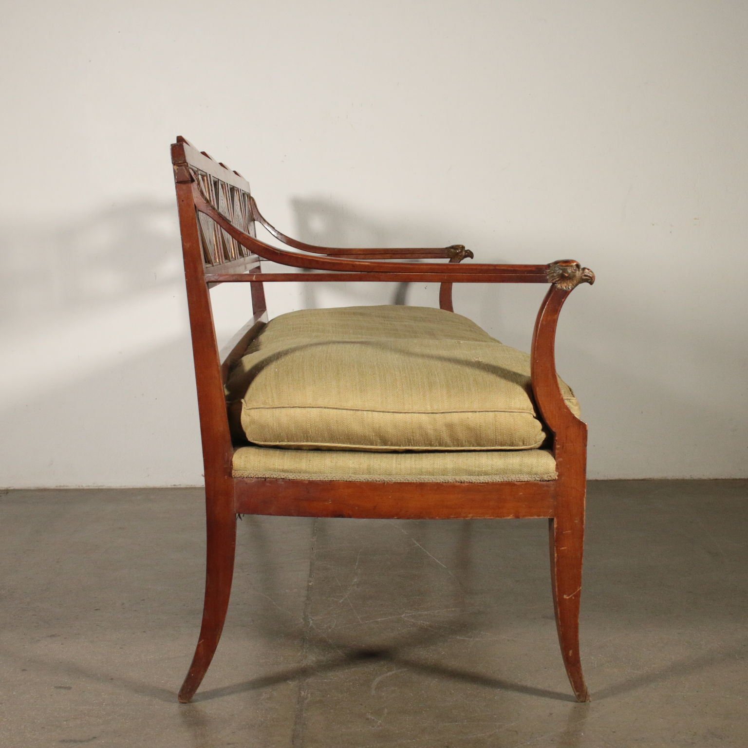 Elegant Sofa Cherry Wood Italy Early 1800s 12