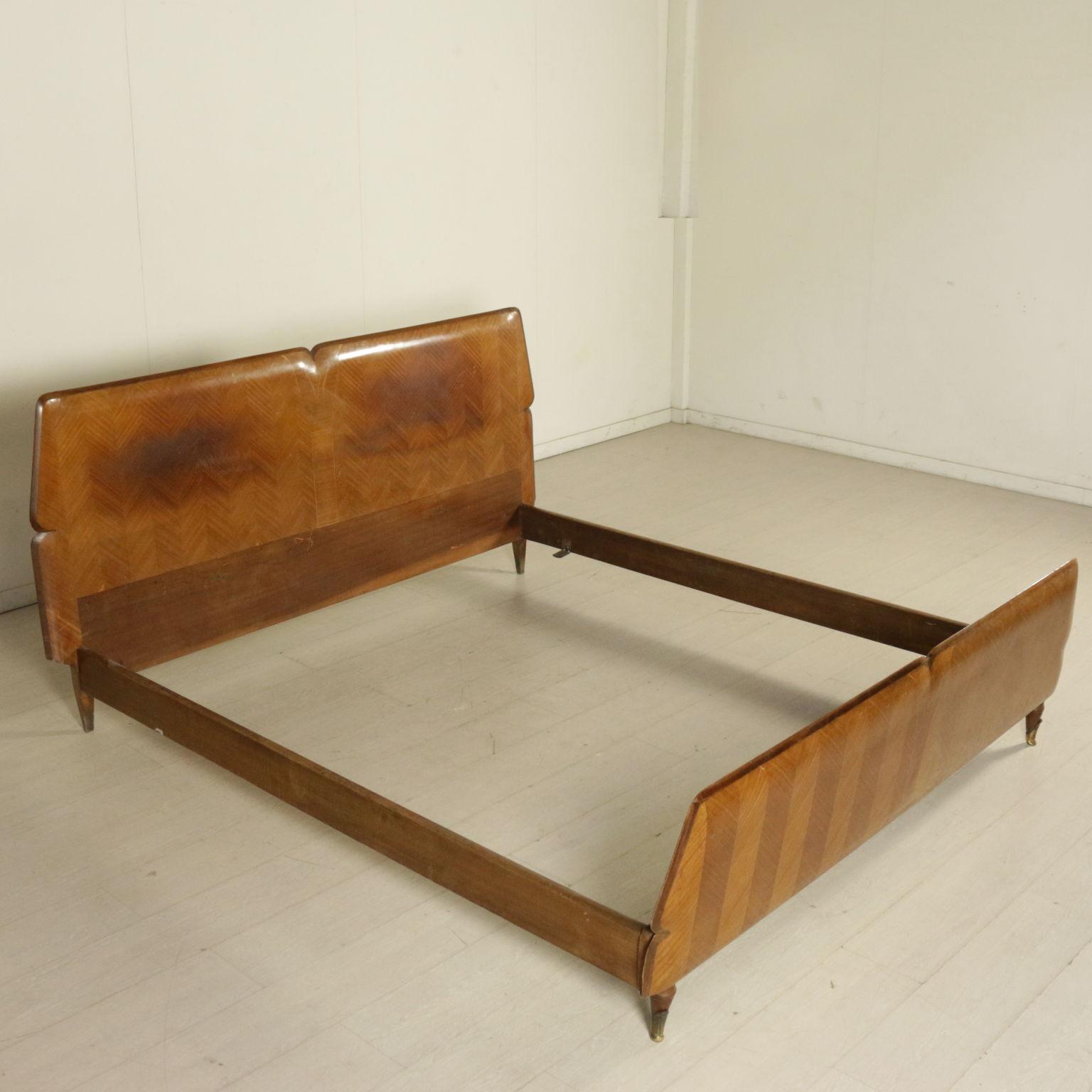 Matrimonio Bed : Matrimonial bed mmahogany veneer wood vintage manufactured