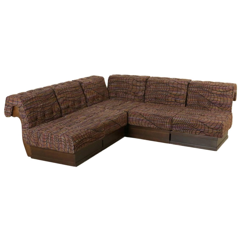 canap d 39 angles h tre mousse tissu vintage fabriqu en italie ann es 70 80 ebay. Black Bedroom Furniture Sets. Home Design Ideas