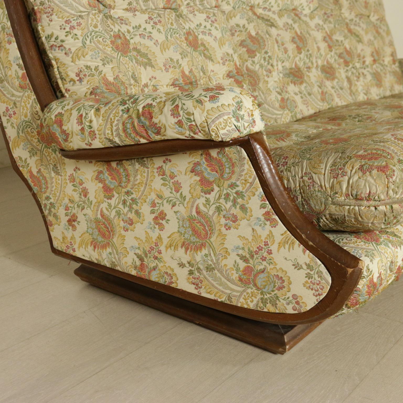 Divano anni 39 60 39 70 espanso tessuto legno tinto noce - Divano profondita 70 ...