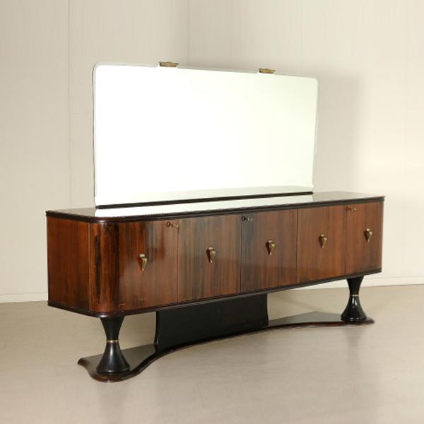 Buffet anni 39 40 39 50 con specchio palissandro vetro ottone for Como con specchio anni 40