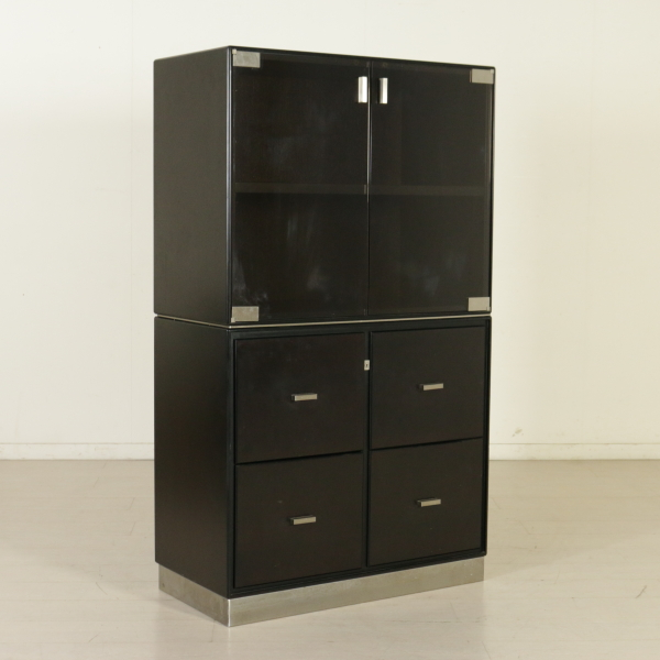 meuble formanova vitre tirroirs bois verre m tal vintage italie ann es 70 80 ebay. Black Bedroom Furniture Sets. Home Design Ideas