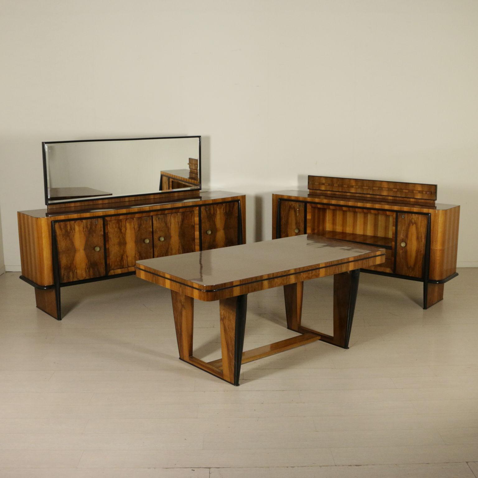 Mobile con specchio radica piano in formica modernariato for Como con specchio anni 40