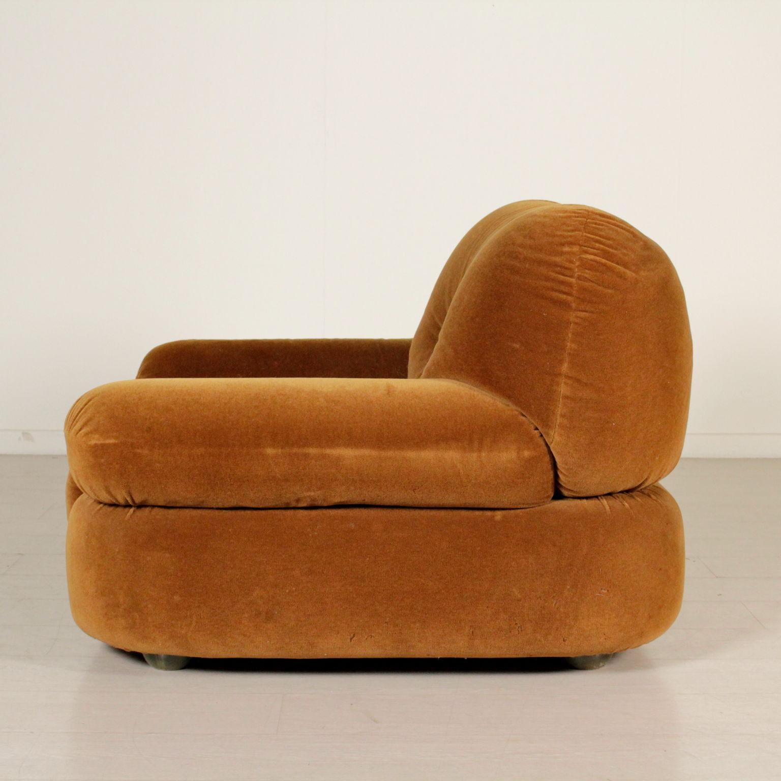 fauteuil rembourrage r pandu rev tement velours italie ann es 60 70 ebay. Black Bedroom Furniture Sets. Home Design Ideas